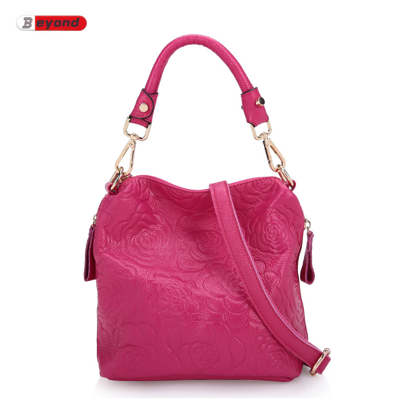 Genuine Leather Bag Elegance Rose Embossing Bucket Bag Europe And America Famous Brand WomenS Shoulder Messenger Bags Handbag<br><br>Aliexpress