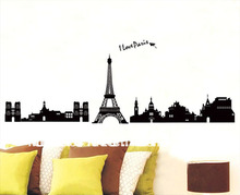 [Fundecor] paris france wall decal black eiffel tower home decor wall stickers i love paris 7027(China)