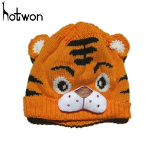 Hotwon Winter Hats for Girls Boys Kids Crochet Knitting Cute Tiger Hat Fashion Warm Cap for 1-4Years Kids Beanie Gorros Bonnet(China)
