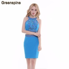 Greenspine Real Photo Two Piece Short Light Blue Sexy Prom Dresses 2017 With Colorful Beads Crystal Formal Party Dresses ED014(China)