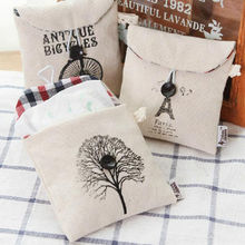 ZAKKA Sanitary Napkin Storage Bag Cotton&linen Canvas Black & White Pattern Bag