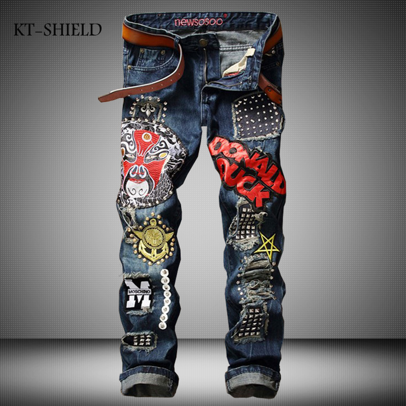 Mens Denim Jeans Pants printed Embroidered Biker Punk Vaqueros Hombre Straight Slim Fit Brand man clothing Masculina PantalonesОдежда и ак�е��уары<br><br><br>Aliexpress