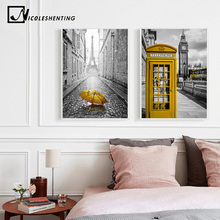 London Big Ben Clock Tower Telephone Box Cityscape Poster Print Wall Art Canvas Painting Black White Picture Modern Home Decor(China)