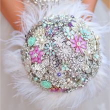 Mint green & Lilac bouquet bridal bouquet custom ostrich feathers diamond brooch flower DIY bridesmaid bouquets