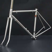 TSUNAMI / tsunami Reynolds 520 steel / brushed titanium road bike frame retro vintage bicycle cycle butted cr-mo steel fork(China)