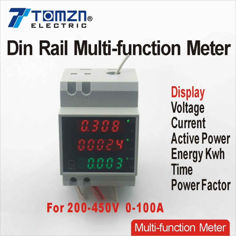Din rail LED AC 200-450V 0-100.0A voltmeter ammeter display active power and power factor time Energy meter voltage current<br><br>Aliexpress