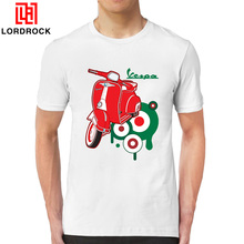 Cheap Price Motorcycle Vespa Tee Shirt Men's Fashion Brand Italy Scooter Short Sleeve Custom Family Shirts Classic Custom(China)