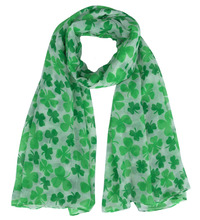 10pcs/lot Irish Clover Shamrock Print Women's Scarf Shawl Wrap Soft Lightweight St Patrick's Day Gift Accessories, Free Shipping(China)