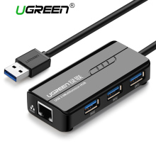Ugreen USB 3.0 Ethernet Adapter 3 Port USB 2.0 HUB 1000Mbps Internet Usb to RJ45 Gigabit Network Card Lan Adapter Ethernet USB(China)