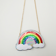 Fashion Funny Laser Rainbow Women's Shoulder Bags Clutch Girls Party Purse Pouch Small Bags Messenger Leather Unique Bag BA236