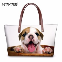 INSTANTARTS Funny 3D Animal French Bulldog Dog Printed Women Large Tote Bags Fashion Shoulder Bag Brand Designer Female Handbags(China)