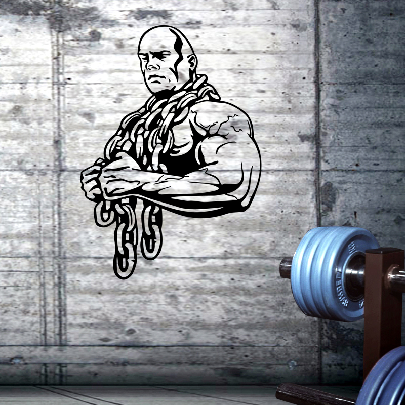 Gym Sticker Ironmen Fitness Iron Chain Crossfit Dumbbell Decal Body-building Posters Wall Decals Parede Decor Gym Sticker JSL029