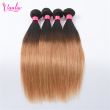Vanlov Ombre Human Hair Malaysian Straight Hair Weave Bundles Blonde 1 Piece T1B/27 Non Remy Hair Extension Can Buy 3 or 4 pcs