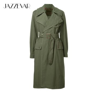 Jazzevar 2017 primavera nueva marca de alta moda de las mujeres casual algodón trinchera verde del ejército prendas de vestir exteriores impermeable de buena calidad