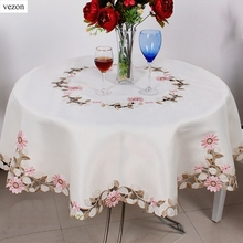 vezon Elegant Polyester Satin Embroidery Pink Daisy Tablecloth Embroidered Floral Table Cloth Cover Overlays Home Decor Textile