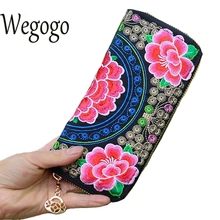 Chinese Women Wallet National Double Faced Embroidered Floral Long Day Clutch Canvas Zipper Coin Bag Small Purse Card Holder(China)
