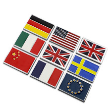 2 Pieces Flag Car-styling Chrome Metal America UK Italy France Sweden EU National China Flag Car Stickers Badge Decorations(China)