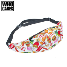 Hot sales full bandana black 3d printing fashion waist bag women fanny packs belt bum bag waist packs for men free shipping 2016