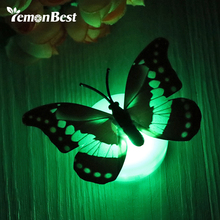10 pcs/lot LED Night Light Colorful Changing Butterfly LED Lamp Stick-on Butterfly Lights for Home Room Party Xmas Decoration(China)