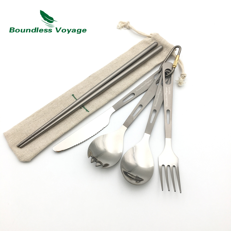 Boundless Voyage Titanium Camping Ultralight Cutlery with Bag Spoon Fork Spork Knife Chopsticks Tableware Ti1519B<br>
