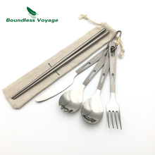 Boundless Voyage Titanium Camping Ultralight Cutlery with Bag Spoon Fork Spork Knife Chopsticks Tableware Ti1519B(China)
