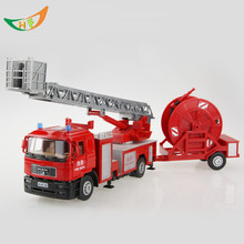 1:40 diecast Large fire truck ladder truck toys motorcycle alloy car model  juguetes car for kids