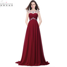 Buy Real Image Beaded Crystals Cheap Long Burgundy Yellow Red Prom Dresses 2017 Sexy Sheer Chiffon Long Party Dress Vestido de Festa for $49.99 in AliExpress store