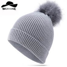 2017 Woman's Hats Winter Cap Thick Beanies with bonnet Fau fur ball warm Ski Skating Knitted wool Caps solid hat bonnet femle