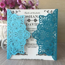 50pcs/lot Skye Blue China alibaba New Arrived luxury squar flowers pearl paper decorative elegant Wedding Invitation Cards(China)