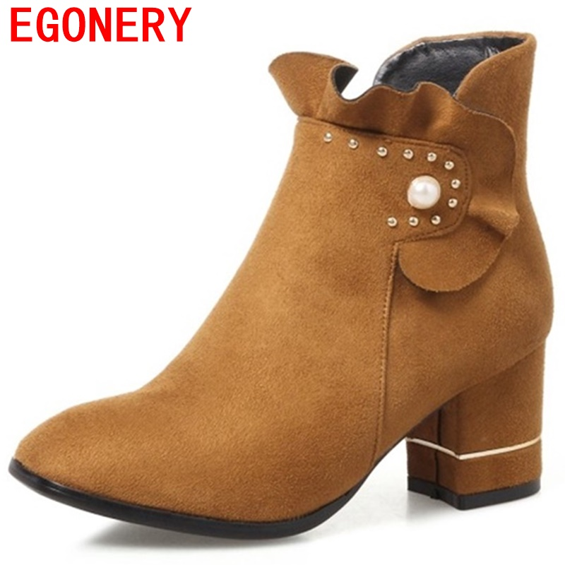 2017 women boots new style eongery round toe high heel pumps flock ankle boots side zipper thick heel booties for woman heels<br>