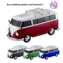High quality colorful mini speaker car shape mini bus speaker support FM +U disk Insert Card mini speaker MP3 player