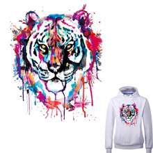 Colorful Tiger Patches Iron On Transfers Patch For Clothes 27*22cm A-level Washable Ironing Stickers Print On T-shirt Dresses