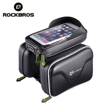 ROCKBROS Bicycle Waterproof Bag Frame Front Head Top Tube Bike Bag Double IPouch Cycling For 6.0 in Cell Phone Bike Accessories