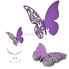 "Free shipping by China Post! 500pc/lot! ""Butterfly""wedding Decoration Name Card Wine Glass cup Decor table mark place mark!"