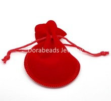 "Doreen Box hot-  20PCs Red Velvet Drawstring Pouches Jewelry Gift Bag with String 9x7.5cm(3-1/2""x3"") (B18756)"