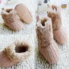 Best Toddler Girl Boy Wool Snow Crib Shoes Baby Shoes Infants Crochet Knit Fleece Boots Winter Booties
