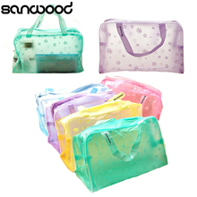 2015 Hot Floral Print Transparent Waterproof Cosmetic Bag Toiletry Bathing Pouch 6NR2