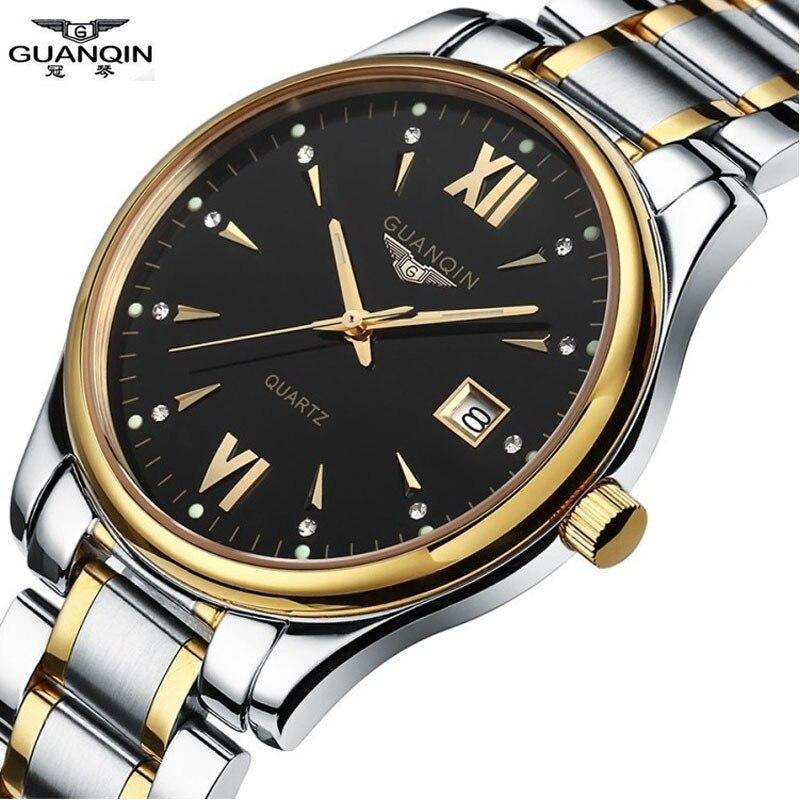 GUANQIN Mens Watches Top Brand Luxury Full Steel Causal Quartz Watch Waterproof  Business wristwatch Relogio Masculino<br><br>Aliexpress