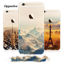 Oppselve Landscape Scenery Case For iPhone 6 6s Mountain Building Sea Boat Back Cover Case For iPhone 6 8 7 Plus Coque Capinhas(China)