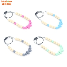Buy Baby Teether Necklace Silicone Wood Pendant Beads Bow Knot Teething Nursing Toys for $1.65 in AliExpress store