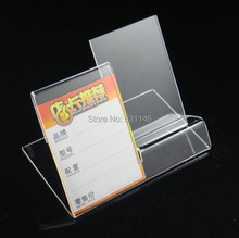 Free Shipping 10PCS Clear Acrylic Mobile cell phone display stand holder rack can be put label
