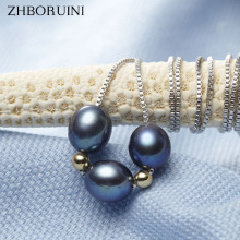 ZHBORUINI 2017 New Pearl Necklace Natural Freshwater Pearl Choker Necklace Black Pearl 925 Sterling Silver Jewelry For Women