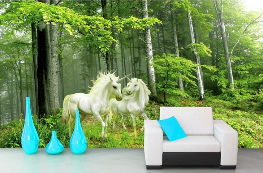 Custom 3D mural, the unicorn in the forest romantic style of oil painting papel de parede,living room TV wall bedroom wallpaper<br>