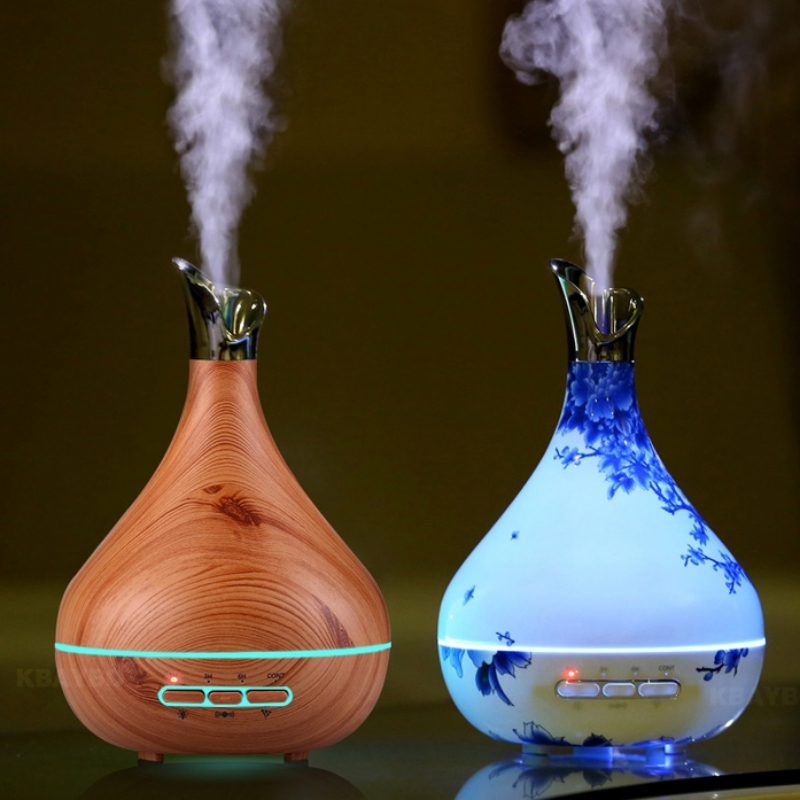 300ml Aroma Essential Oil Diffuser Ultrasonic Air Humidifier purifier with Wood Grain LED Lights for Office Home Bedroom<br>