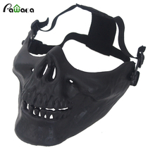 2017 Pawaca Hot Halloween Skull Mask Face Protective CS Games Airsoft Paintball Skeleton Battlefield Mask Shield Free shipping