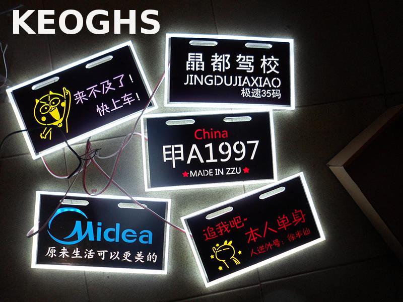 Keoghs Motorcycle Custom-made 12v Acrylic Luminous License Plate Personality Customized Waterproof For Honda Yamaha Kawasaki Ktm<br>