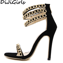 DiJiGirls Summer Metal Decoration Gladiator Sandals Women Open Toe High Heel Stiletto Party Club Fetish Punk Shoes Woman 35-40