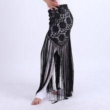 Hand Made Belly Dance Clothes Women Dancewear Flowers Long Fringe Hand Crochet Triangle Belt Belly Dance Hip Scarf Lace