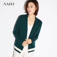 Amii Casual Women Cardigan 2017 Open Stitch Patchwork Contrast Color Female Knit Cardigan Sweaters(China)