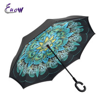Self Standing Inside Out Rain Protection Umbrella Windproof Uv protection Reverse Double Layer Inverted Umbrella C-shaped Hands(China)